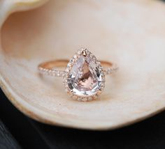 Ice Peach Sapphire Ring Rose Gold Engagement Ring 2.35ct cushion 14k rose gold diamond ring. Engagement rings by Eidelprecious.