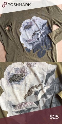 JCrew Ling Sleeve Tee Olive floral like new. Mint condition J. Crew Tops Tees - Long Sleeve