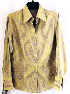 a4c700cbab29e Details about Robert Graham Multi-Color Blouse Long Sleeve Green Women s  Size Large