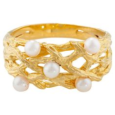 Buy London Road Burlington 9ct Yellow Gold and Pearl Willow Ring, M Online at johnlewis.com