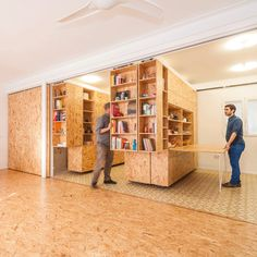 Complimenting a flexible open area on one side of this apartment are a series of suspended separators that provide storage but also move along rails, opening up a variety of additional functions on...