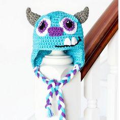 Big Blue Monster Baby Hat | AllFreeCrochet.com