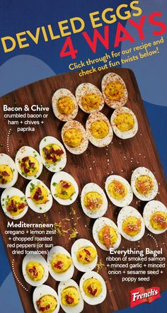 French's Yellow Mustard is a staple ingredient in your classic Easter deviled eggs… But add crumbled bacon, ham, chives and paprika – now you've got yourself a delicious deviled egg twist! Tap the pin to discover our classic deviled egg recipe. Egg Recipes, Appetizer Recipes, Low Carb Recipes, Great Recipes, Cooking Recipes, Favorite Recipes, Recipies, Appetizers, Breakfast Desayunos