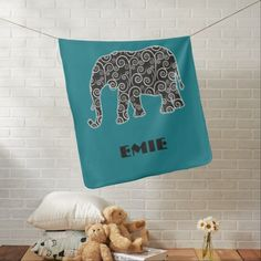 Elephant with Black and White Swirls on Teal Receiving Blanket.  Personalize with your own text.