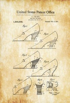 A patent print poster of High Heels for Shoes invented by J. L. Van Ness. The patent was issued by the United States Patent Office on February 11, 1919. Patent prints allow you to have a piece of history in your Home, Office, Man Cave, Geek Den or anywhere you wish to add an ...