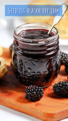 Easy Seedless Blackberry Jam (aka Seedless Bramble Jam) is a delicious small batch jam made with just 3 ingredients: blackberries, granulated sugar, freshly squeezed lemon juice and no pectin. It has a concentrated blackberry flavour with a delicious tang provided by the lemon juice which complements it beautifully. Jelly Recipes, Fruit Recipes, Real Food Recipes, Dessert Recipes, Yummy Food, Summer Recipes, Vegan Recipes, Seedless Blackberry Jam, Blackberry Jam Recipes