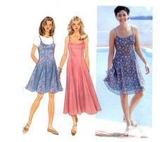 Simplicity 9682 Misses Dress or Jumper 1990s Sewing Pattern  Princess seamed, fit and flare lined slip dress or jumper has back zipper and