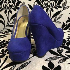 Blue Faux Suede Wedge Heels