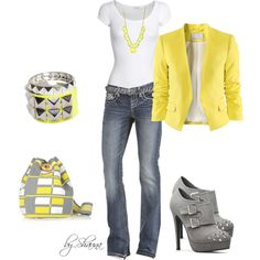 add a bright blazer to your t-shirt and jeans, created by shauna-rogers on Polyvore
