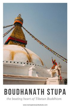 Boudhanath Stupa is the largest stupa in Nepal. Nearby are many Buddhist monasteries where you can get a glimpse of authentic Tibetan culture. This guide has everything you need to plan to visit Boudhanath Stupa #travel #nepal