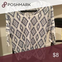 3/4 length sleeved Aztec tee Blue and white Aztec print. Slouchy 3/4 length sleeve tee. From forever 21. Very light weight. One of my favorites- just doesn't fit me anymore. Good condition. Forever 21 Tops Tees - Long Sleeve