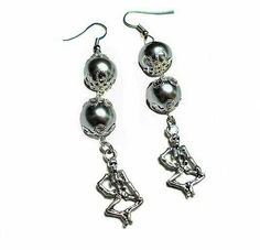 SALE Spooky & Sexy Halloween 3 Tier Dancing Skeleton Charm Earrings w/Silver Metallic Shiny Beads Pin Up Goth Punk Rockabilly FREE SHIPPING - Only $5.95 on Etsy! https://www.etsy.com/listing/240787284/sale-spooky-sexy-halloween-3-tier