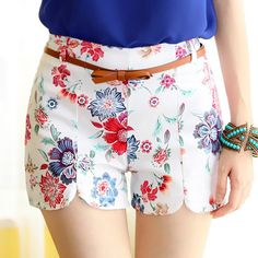 Trendy Style Floral Print With Belt Shorts For Women