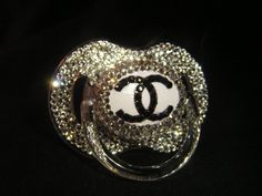 FOR MY FUTURE BABY SERIOUSLY July Blinky of the Month!! Black Chanel logo with Diamond Rhinestones!! $20.00