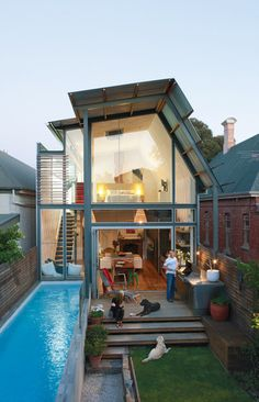 Can't believe they got a lap pool and a backyard in such a tiny space.