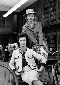 Model in red blazer piped in navy combined with navy-check skirt by Ellen Brooke and model in copy of Chanel suit available at Henri Bendel, photo by Alfred Eisenstaedt, 1959