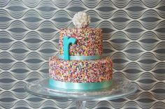 20120915 Rainbow Sprinkle Birthday Cake. I wil be having this for my birthday this year!