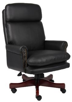 Superior Boss Office Products B850 BK Traditional Back Executive Chair With Mahogany  Finish In Black |