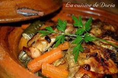 Tajine de poulet, carottes, courgettes