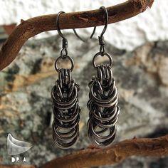 Gunmetal Chainmaille Earrings Rock Chic Earrings by DRIAjewellery