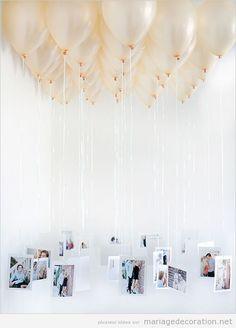 Ballon héllium avec photos des mariés pendues, idée déco mariage | Décoration Mariage | Idées pour décorer un mariage pas cher