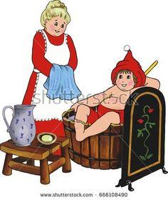 Santa Claus having a bath in a bath barrel, digital illustration