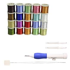 CurtzyTM 3Needle Stitch Sewing Tool And 20 Metallic Polyester Sewing Thread Spools >>> Click on the image for additional details.
