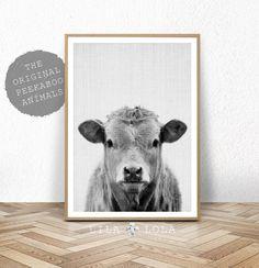 Digitale Download, Decor van de boerderij, koe Print, afdrukbare Wall Art, boerderij dieren Poster, kwekerij boerderij koe Print, zwart-wit digitale kunst