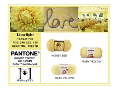 Limelight - Pantone Color Trend Report Autumn Winter 2018 2019 Fashion trend analysis and yarn matching by mamapode Tight Crochet Baby Yellow, Mellow Yellow, Fashion 2018 Trends, Trends 2018, Mango Mojito, Suits Tv Shows, Pink Peacock, Fall Winter, Autumn