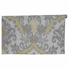 """Linen-blend valance with an ikat damask motif. Made in the USA.   Product: ValanceConstruction Material: Linen and rayonColor: Gray and yellowFeatures:  16"""" Drop 2"""" Rod pocket Dimensions: 16"""" H x 50"""" W"""