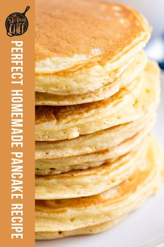 The Perfect Homemade Pancake Recipe is easy to make with ingredients you probably already have on hand. This recipe can easily be turned into a pancake mix or into buttermilk pancakes as well. Its the perfect versatile allin one recipe. Tasty Pancakes, Homemade Pancakes, Buttermilk Pancakes, Waffle Recipes, Pastry Recipes, Cooking Recipes, Melange A Crepe, Donuts, Pancake Healthy