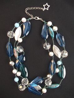 Blue Beaded Necklace Handmade by gabriellesgifts on Etsy, £15.00