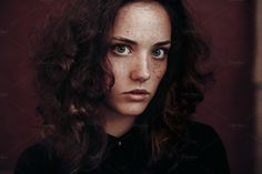 Beautiful young brunette curly girl with freckles. --- - File format: JPEG / RGB - Orientation: landscape - Size: 7087x4724 px - Resolution : 300 dpi Model release available on request. TIFF