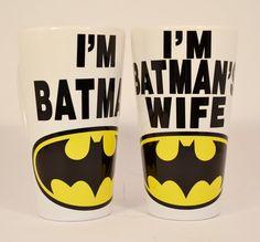 Ich bin Batman und batman's Frau Latte Tassen paar von TheMugLoft
