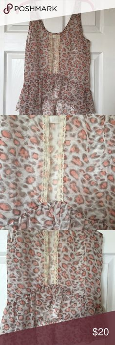 Band Of Gypsies Leopard Tank w/ Lace Band Of Gypsies Sheer Pink Leopard Tank w/ Lace. Only worn a few times. In great condition. Band of Gypsies Tops Tank Tops