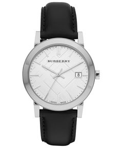 Burberry Watch, Men's Swiss Smooth Black Leather Strap 38mm BU9008 - Men's Watches - Jewelry & Watches - Macy's