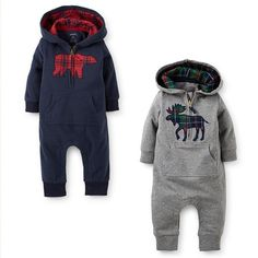 New England Style Moose or Bear Romper with Hood www.destination-baby.com