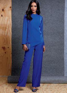 V1607   Misses' Top, Skirt and Pants   Vogue Patterns Kimono Fashion, Fashion Outfits, Fashion Ideas, Business Chic, Vogue Sewing Patterns, Top Pattern, Straight Leg Pants, Work Wear, Peplum Dress