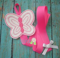 Hot Pink Butterfly Bow Holder  Bow by TheLollipopBoutique on Etsy, $8.50
