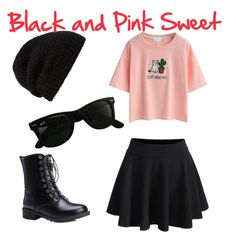"""Black and Pink Sweet"" by jaqsancake ❤ liked on Polyvore featuring WithChic, Rick Owens and Ray-Ban"