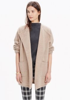 madewell oversized sweater-jacket worn with the side-slit sweater ...