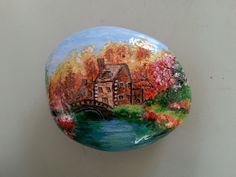 MY PAINTED STONE...colorful and pretty little scene!