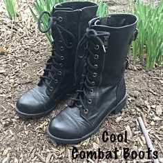 Cool Combat Moto Boots 7-7.5 Vegan faux leather combat/moto by Soda with all the bells & whistles. Side zip closure for easy on/off - lace up front - two buckle straps on back of shaft for extra flare. Marked 7.5 but runs on small side to fit Size 7. Excellent condition⭐️✨ Soda Shoes Combat & Moto Boots