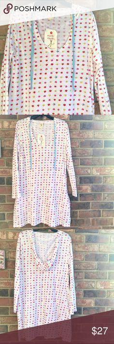 "NWT MUNKI MUNKI SLEEP SHIRT NWT, fruit print, hooded sleep shirt with pockets by Munki Munki. 60% cotton, 40% modal. Approximate measurements: bust 19.5"", sleeves 23"", length 36"". Munki Munki Intimates & Sleepwear Pajamas"