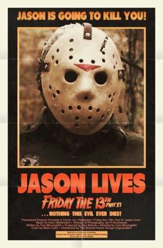 Jason Lives Friday the 13th Part 6 Movie Poster  Buy Friday the 13th Part 6 on DVD at http://www.discounthorrormovies.com/friday-the-13th-part-vi-jason-lives/