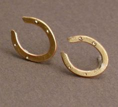 For Luck - Brass Horseshoe Stud Earrings on Sterling Silver Posts - Featured in LUCKY MAGAZINE