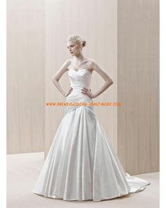 2013 Luxuriöse Brautmode modisch aus Satin A-Linie mit Reifrock mit Schleppe