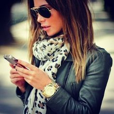 Leather Jacket and Leopard Scarf.