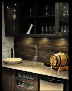 An idea that would work for a basement bar or a man cave bar. The aged wood backsplash is cool Basement Bar Designs, Basement Ideas, Small Basement Bars, Rustic Basement, Garage Ideas, Wood Backsplash, Backsplash Design, Countertop, Backsplash Ideas
