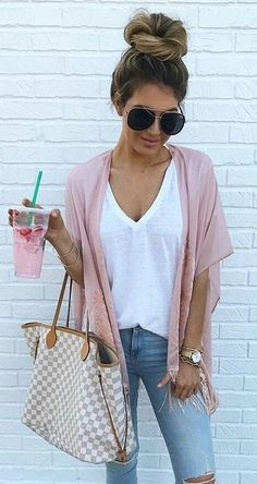 #summer #outfits Blush Cardigan + White Tee + Ripped Skinny Jeans
